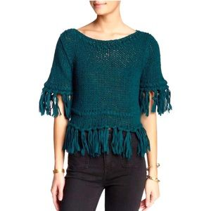Free People On The Fringe Pullover Green Sweater